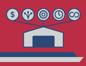 Icon depicting the five reasons prefab industrial buildings dominate construction today.