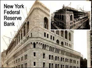 Photo of the New York Federal Reserve Bank and its steel framing.
