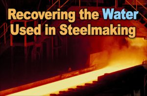 white-hot steel producing steam in a steelmaking plant