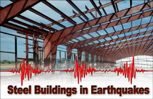 a steel building warehouse under construction, superimposed with seismographic markings