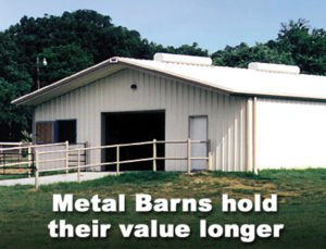 white metal building barn with welded steel fencing