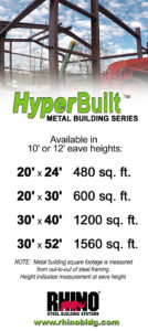 chart showing the sizes available in the RHINO HyperBuilt Series