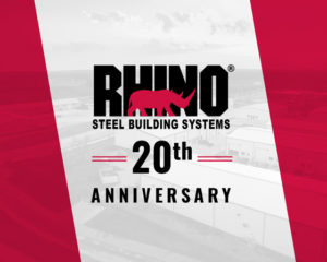 RHINO Steel Building System logo with text announcing the company's 20th Anniversary