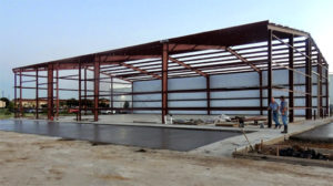 Photo of a RHINO steel framed building during construction.