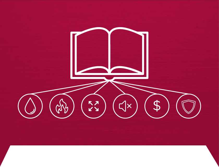 Icon of an open book on a cranberry background denotes steel buildings for bookstores and libraries.