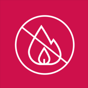 Icon representing the fire-resistant qualities of steel buildings.