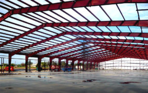 Photo of a RHINO clear span warehouse framing.