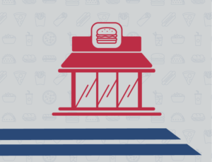 graphic icon representing steel buildings for fast food restaurants