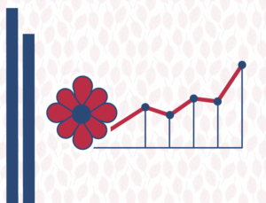 Icon-like graphic representing upward trends in Amerca's retail gardening industry.