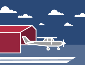 Icon of private plane near a metal airplane hangar.