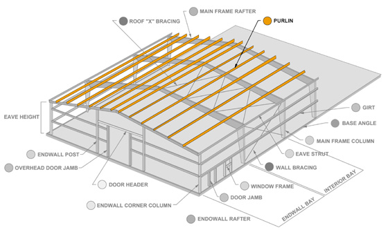A construction diagram shows the location of metal building purlins on the roof of a steel structure