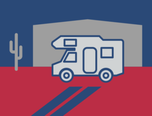 Icon of a camper before a metal storage building
