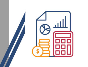 Icon with calculator and money depicting ways to keep your metal building project on time and on budget