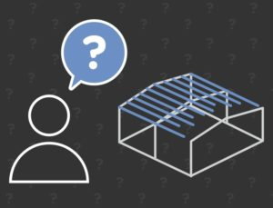 Graphic image depicting a potential buyer with questions for the metal building supplier