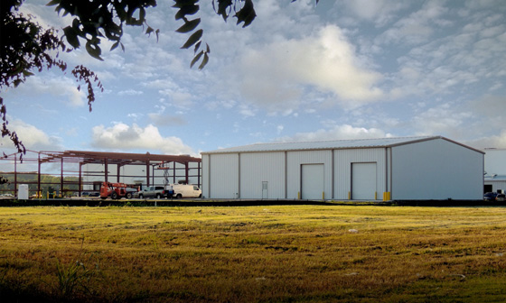 Photo of two RHINO steel buildings in an industrial development.