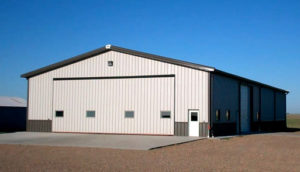 Photo of a RHINO hangar with wainscot trim.
