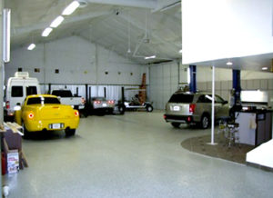 Photo of the interior of a multi-use home garage.