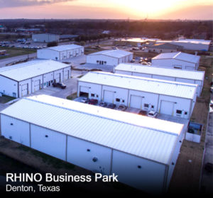 Arial photo of steel industrial buildings in the RHINO Business Park.