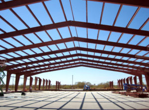 Photo of a RHINO steel warehouse under construction.