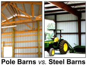 Photos comparing the interior of a wood pole barn to a steel framed barn.