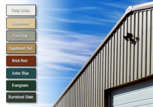 Photo of a metal building with the exterior panel color choices.