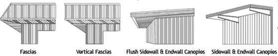 Illustrations of the various fascias and canopies available as options from RHINO.