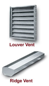 Photos of louver vents and ridge vents available from RHINO Steel Building Systems.