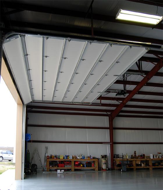 Photo of an overhead door in a RHINO steel building.